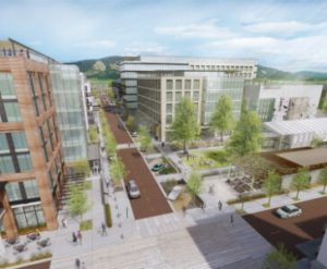 Center Street rendering - Baseline's new office and retail district